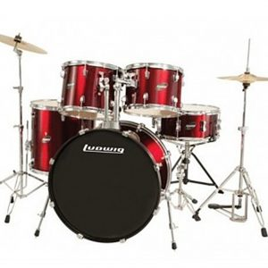 Ludwig Accent Drive 5 Piece Complete Drum Set Wine Red
